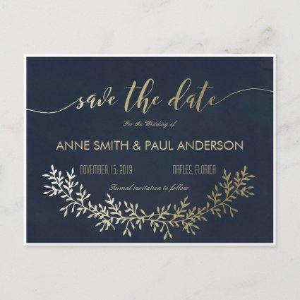 Gold wreath Save the Date Announcements Cards