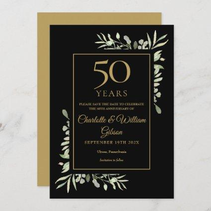 Golden 50th Anniversary Save the Date Greenery Invitation
