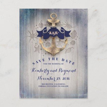 Golden Anchor Nautical Save the Date Announcement
