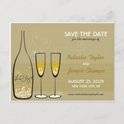 Golden Champagne Bubbles Celebration Save The Date Announcements Cards