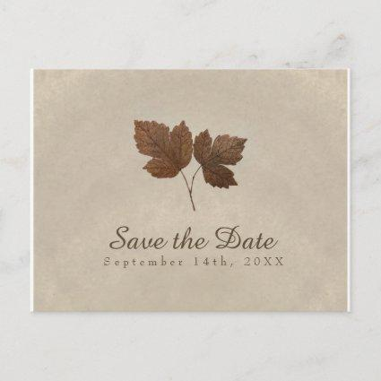 Golden Copper Fall Leaves Save the Date Announcement