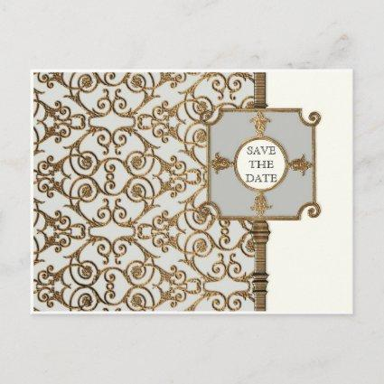 Golden Filigree, Grey - Save the Date Announcements