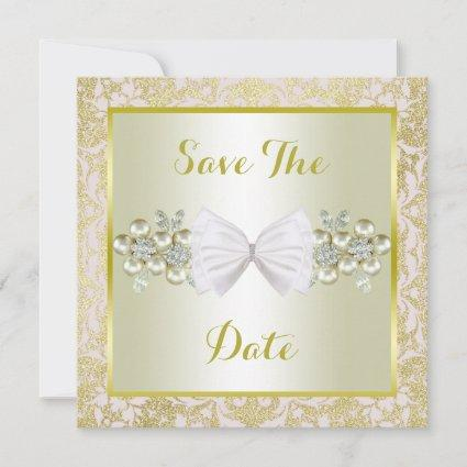 Golden Glitters, Diamond Floral Gems & Bow Wedding Save The Date