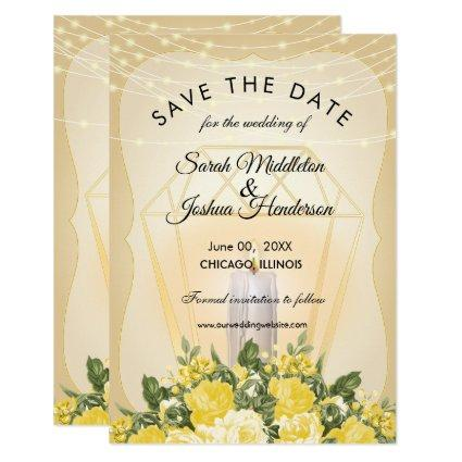 Golden Lantern and Yellow Floral Invitation