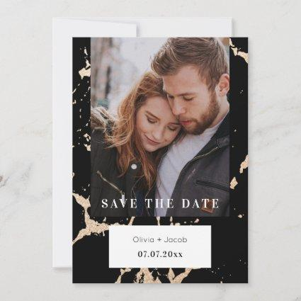 Golden Marble Elegance Photo Black Save The Date