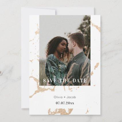 Golden Marble Elegance Photo Save The Date