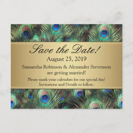 Golden Peacock Feather Background Save the Date Announcement