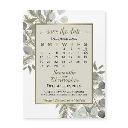 Golden Pine Save the Date Calendar Taupe Magnet