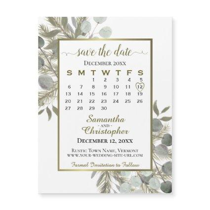 Golden Pine Wedding Save the Date Calendar