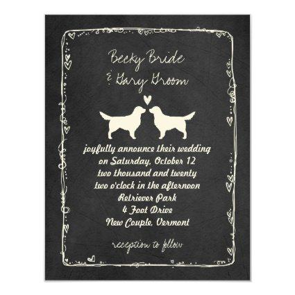 Golden Retriever Silhouettes Wedding Invitation