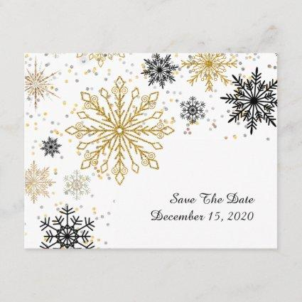 Golden Snowflake Winter Save The Date