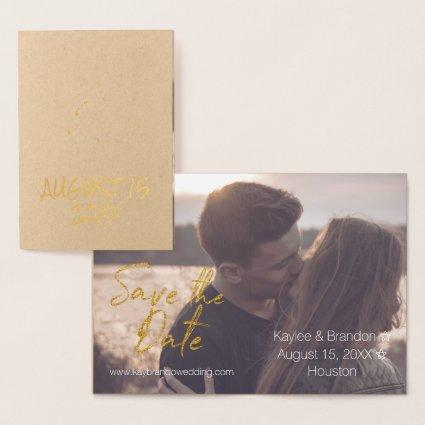 Golden Typography Script for a Modern Romance Foil Card