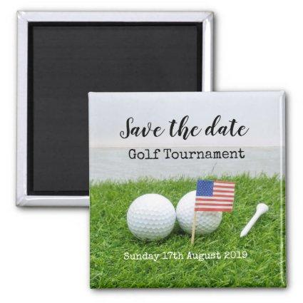 Golf Save the date Golf Tournament with U.S.A.flag Magnet