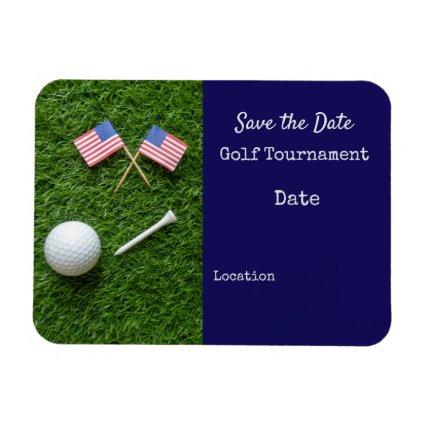 Golf USA  with America flag on green grass Magnet