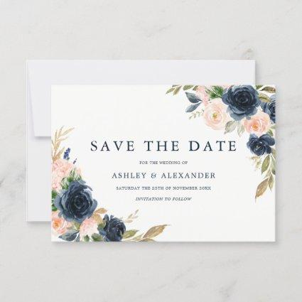 Gorgeous Blush & Navy Floral Wedding Save The Date