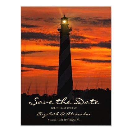Gorgeous Cape Hatteras Lighthouse Save The Date Magnetic Invitation