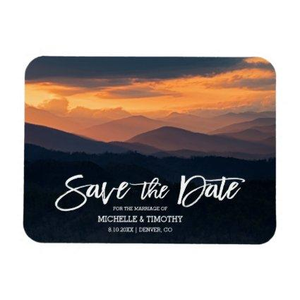 Gorgeous Mountain Sunrise Wedding Save The Date Magnet