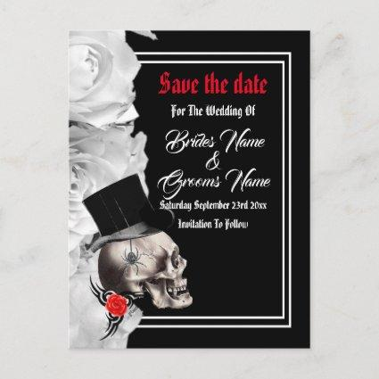 Gothic biker or rock black wedding save the date announcement