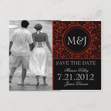 Gothic Black & Red Flourish Save the Date Announcement