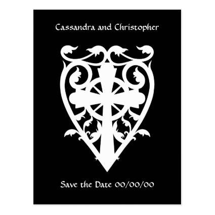 Gothic cross in heart Cards