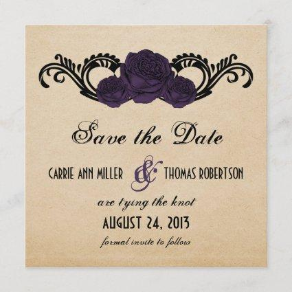 Gothic Swirl Roses Save the Date Invite, Purple