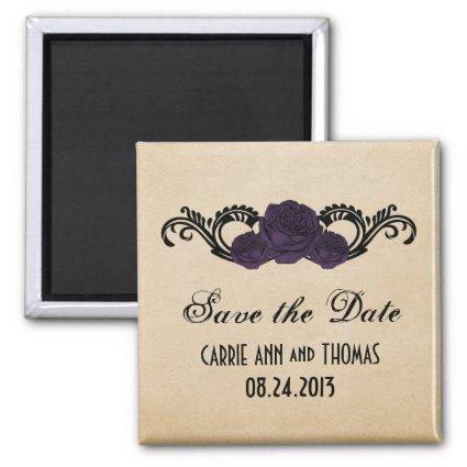 Gothic Swirl Roses Save the Date Magnets, Purple Magnets