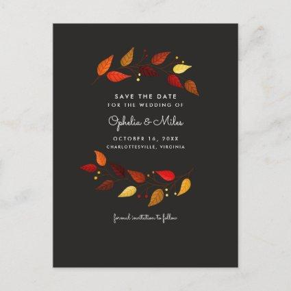 Gouache Autumn Leaves on Black Save the Date Announcement