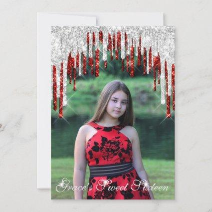 Grace Sweet Sixteen Red Silver Drips Save The Date