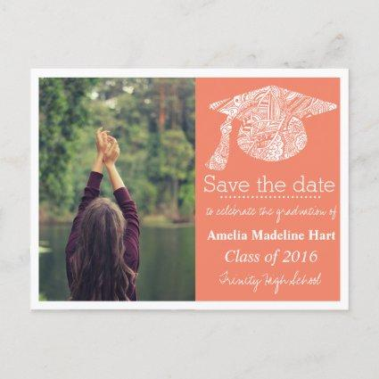 Grad Bohemian Hat Coral Save The Date Photo Announcements Cards