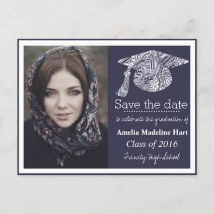 Grad Bohemian Hat Navy Blue Save The Date Photo Announcements Cards
