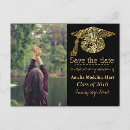 Grad Gold Bohemian Hat Save The Date Photo Announcements Cards