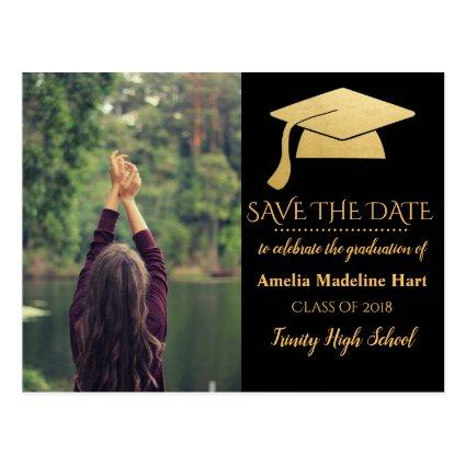 Graduate Faux Gold Foil Hat |  Photo Cards