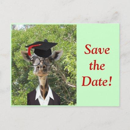 Graduate Giraffe Red Tassel Announcements Cards