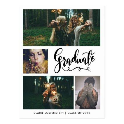 Graduate Handwritten | Four Photo | Save The Date Cards