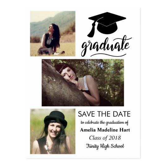 Graduate Handwritten | Save The Date Three Photo Cards