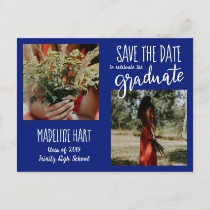 Graduate | Save The Date Modern Photo | Navy Blue Announcements Cards
