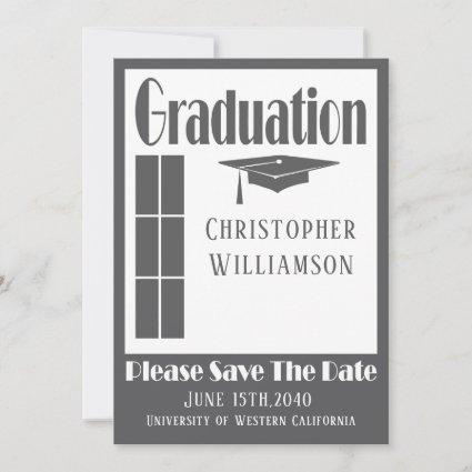 Graduation Cap Photo Gray Modern Deco Save The Date