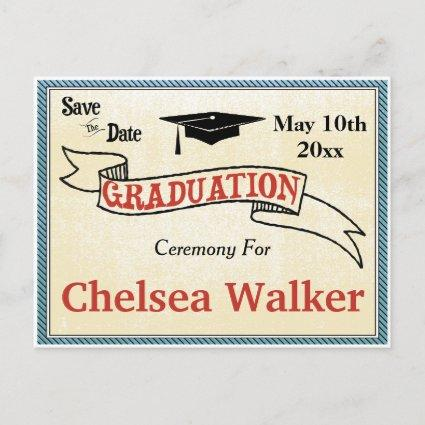 Graduation Ceremony Or Party Save The Date Announcement