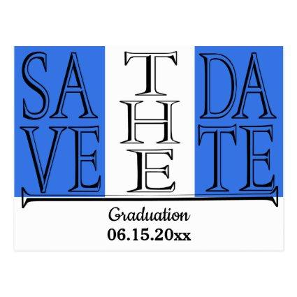 Graduation Modern Typography Save The Date Blue Cards