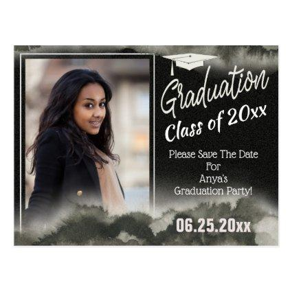 Graduation Party Photo Save The Date Watercolor Cards