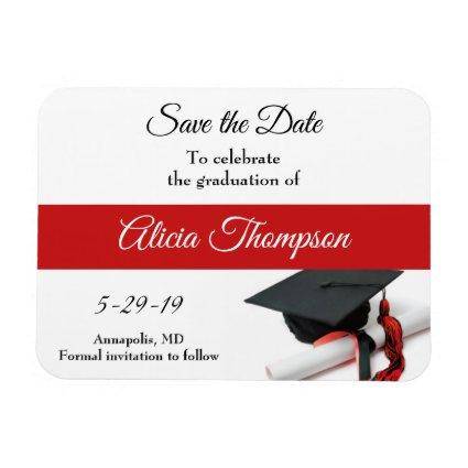 Graduation Save the Date Black Red Cap Tassel Magnet