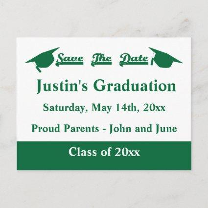 Graduation Save The Date Cards Green