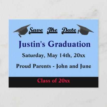 Graduation Save The Date Cards Modern Blue