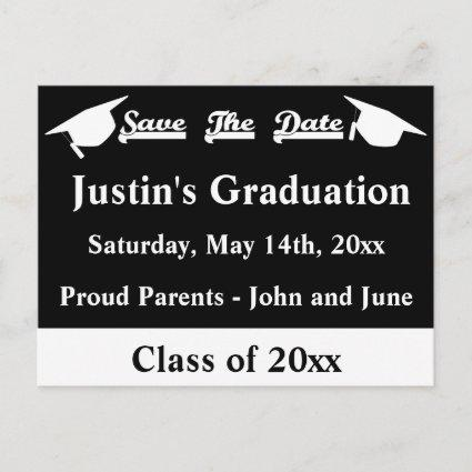 Graduation Save The Date Cards White and Black