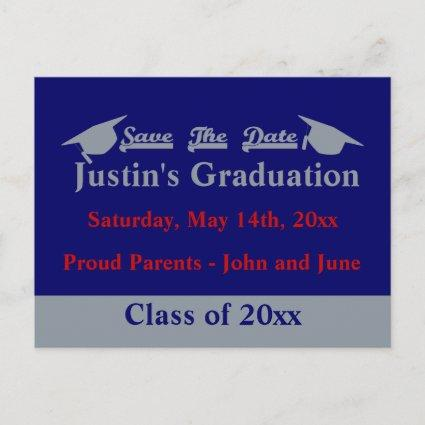 Graduation Save The Date Cards With Silver