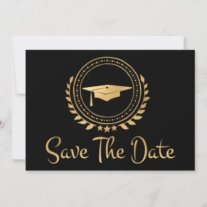 Graduation Save The Date Gold Emblem Grad Cap