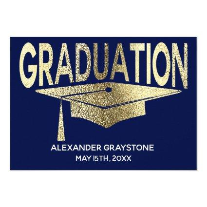 Graduation Save The Date Modern Faux Gold Blue Invitation