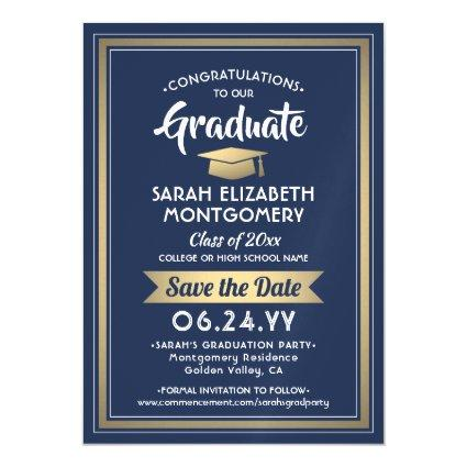 Graduation Save the Date Navy Blue White and Gold Magnetic Invitation