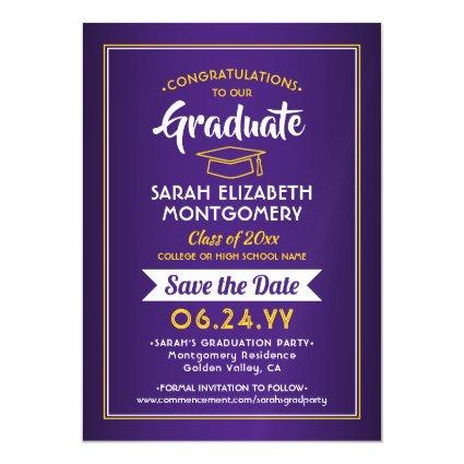 Graduation Save the Date Purple and Gold Yellow Magnetic Invitation