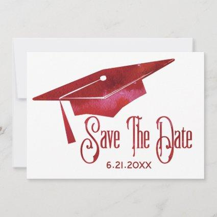Graduation Save The Date Simple Modern Red Grad